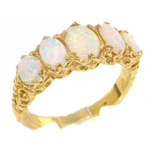 Luxury Ladies Victorian Style Solid Hallmarked 14K Yellow Gold Genuine Fiery Opal Ring - Size 9.25 - Finger Sizes 5 to 12 Available - Perfect Gift for Birthday, Christmas, Valentines Day, Mothers Day, Mom, Mother, Grandmother, Daughter, Graduation, Bridesmaid.