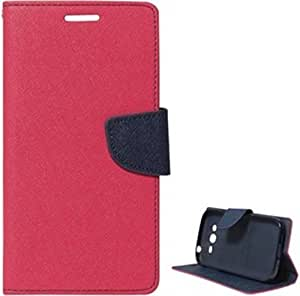 Om Synthetic Leather Mercury Flip Cover For Reliance Jio Lyf Water 7 - Pink&Blue
