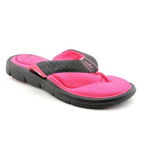 Nike Womens Comfort Thong Flip Flops, Black/Vivid pink/White, 7 M Us