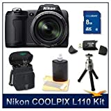 """Nikon Coolpix L110 Digital Camera (Black), 12.1 Megapixels, 15x Wide-Angle Optical Zoom (28-420mm), 3"""" High Resolution LCD, 8 GB Memory Card, Card Reader, Lens Cleaning Kit, Digpro Deluxe Carrying Case, & Tripod"""