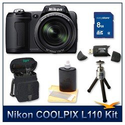 Nikon Coolpix L110 Digital Camera (Black), 12.1 Megapixels, 15x Wide-Angle Optical Zoom (28-420mm), 3