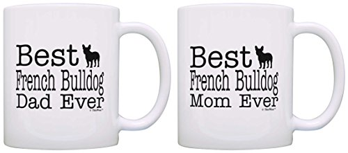 Dog Lover Gift Best French Bulldog Mom Dad Ever Puppy Bundle 2 Pack Gift Coffee Mugs Tea Cups White (Bulldog Coffee compare prices)