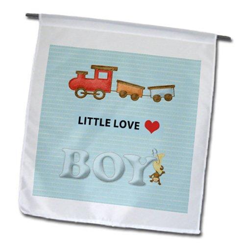 Beverly Turner Baby Stuff Design - Choo Choo Train, Little Love, Boy With Monkey Pinned, Felt Look - Flags - 12 X 18 Inch Garden Flag - Fl_192573_1 front-281451
