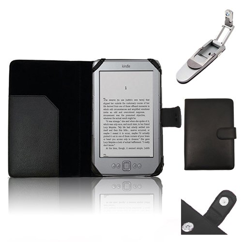 """Xtra-Funky Exclusive Pu Leather Book Wallet Folio Style Case For Amazon Kindle 4 (Black Or Silver 6"""" E-Ink Display No Keyboard Model) With Clip On Robotic Folding Light - Black"""