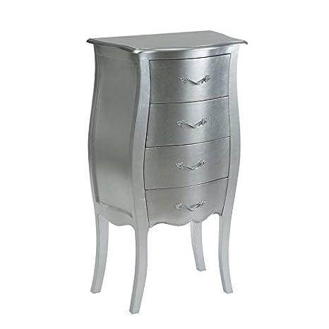 Dekoria Kommode Louis 4 Schubladen silver