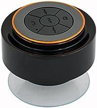 Expower IPX7 Wasserdicht Bluetooth Stereo Lautsprecher Duschen Lautpsrecher für Smartphone, Integrierte Mikrofon,3.5mm AUX in schwarz mit orange