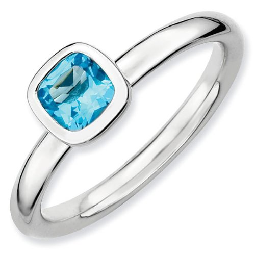 Cushion Cut Blue Topaz Stackable Ring - Size 7.5