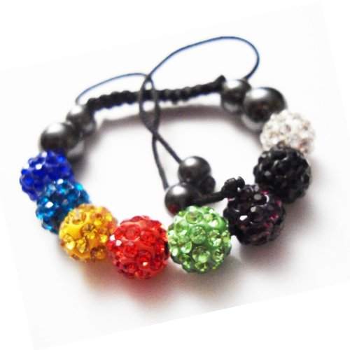 Childrens Kids Shamballa Bracelet Multi Colour Clay Crystal Disco Ball Macrame