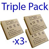 Premium Quality -Triple Pack- 3x Battery for Canon Ixus 70 / Ixus 75, LiIon, Li-Ion, Lithium Ion Technology for Digital Cameras NB-4lL / NB-4L- I-Luv-Life