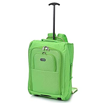 5 Cities Cabin Approved Multi-use Carry On Flight Bags/Luggage Backpacks, Ideal 50x40x20cm Ryanair Travel Two Wheeled Roller Suitcases with 33L Capacity (Green (50CM))
