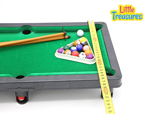 Mini Billiards Pool Table Desktop Play Set From Little Treasures With Cues  And 16 Ball Set Sporting Goods Indoor Games Tables