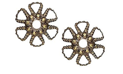 FILIGREE BEAD CAP 6mm FANCY LOOPED FLOWER BASKET 100pc FREE SHIPPING (Antique Gold) (Filigree Basket compare prices)