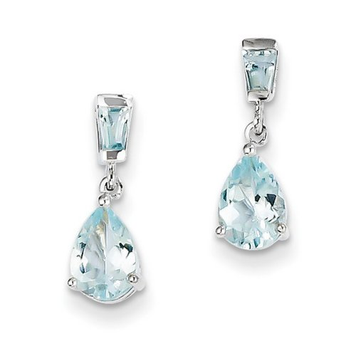IceCarats® Designer Jewelry 14K White Gold Aquamarine Dangle Earrings