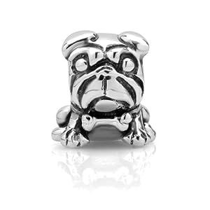925 Sterling Silver Pug Dog Puppy Bead Charm Fits Pandora Bracelet, Fashion Jewelry for Women, Teens