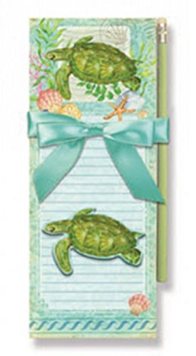 Two Magnetic Notepads, 1 Pencil, 1 Magnet Sea Turtle Design
