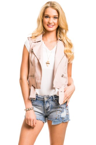 Crochet Back Motorcycle Vest In Mauve