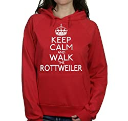 Keep calm and walk the Rottweiler womens hooded top pet dog gift ladies Red hoodie white print