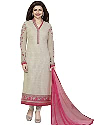 Justkartit Women's Semi-Stitched Georgette Embroidered Latest Salwar Kameez / Beautiful Biege Colour Wedding Wear Dress Material (With Original Pictures Given) (August 2016 Collection)