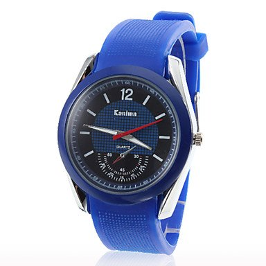 Xs Unisex Red Second Hand Silicone Band Analog Quartz Wrist Sport Watch(Blue)