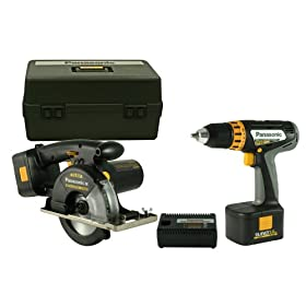 Panasonic EYC136NQKW 15.6-Volt NiMH Cordless 2-Tool Combo Kit, includes 1/2-Inch Drill/Driver and Metal Cutting Circular Saw