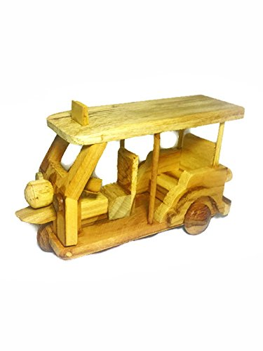 Tuk Tuk Tricycle Wood Model Brown Color Thai Handmade Craft Collectibles Gift Souvenir Decor (Thai Micro Crab compare prices)