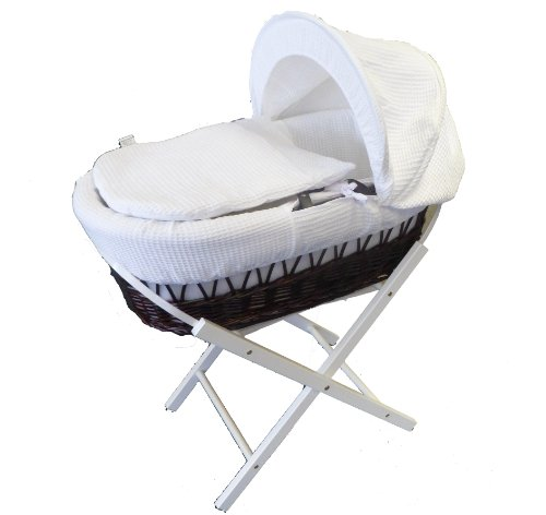 Dark Wicker Crib / Moses Basket With White Waffle Dressing PLUS White Wooden Stand : Also Includes High Quality 100% Combed Jersey Cotton White Fitted Sheet