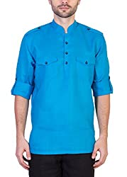 Desam Men's Linen Kurta Blue 44