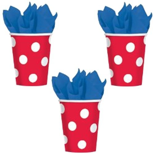 Red Polka Dot 12 oz. Cups - 18 Pieces