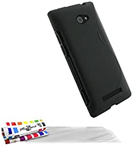 "MUZZANO Coque Souple Ultra-Slim ""Le S"" Premium Noir pour HTC 8X de Qualité Supérieure ORIGINALE - Protection Antichoc ELEGANTE, OPTIMALE et DURABLE + 3 Protections d'Ecran transparents ""UltraClear"" + 1 STYLET et 1 CHIFFON MUZZANO OFFERTS"