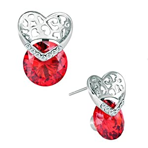 Pugster Jul Birthstone Light Red Crystal Heart Stud Earrings