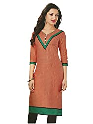 PShopee Red Cotton Printed Unstitched Kurti/Top Material