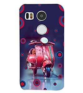 PrintDhaba RED SCOOTER D-6148 Back Case Cover for LG NEXUS 5X (Multi-Coloured)