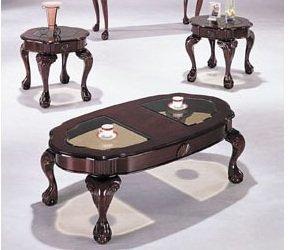 Classic Canebury Cherry Finish Coffee Table Set Acs80195