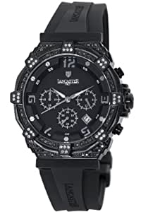 Lancaster Women's OLA0441L/BK/SL/NR Robusto Diamonds Chronograph Black Dial Rubber Watch
