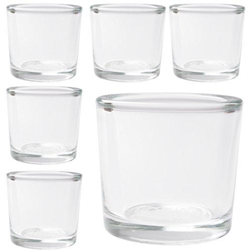 Hosley s Set of 6 Heavy Clear Chunky Glass Tea Light, Votive Candle Holders 2.4? High. Ideal ...