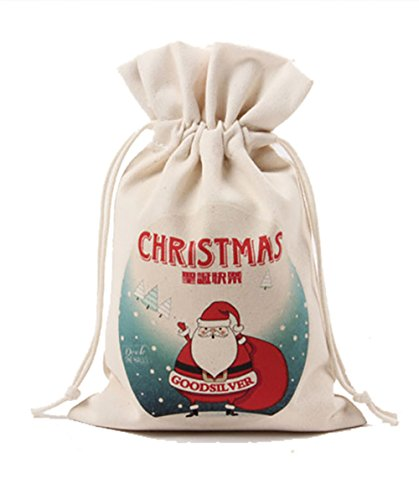 HUAN XUN Cotton Canvas Christmas Santa Sack Gift for Kids Small Size 2 Piece A Lot (Beige-Small Clause)