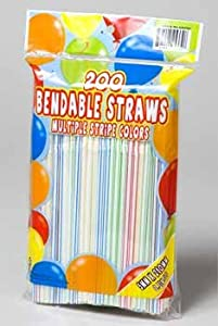 150 Count Multicolored Flexible Plastic Straws-Party Supplies