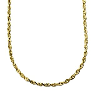 Solid Diamond Cut Rope Chain Necklace