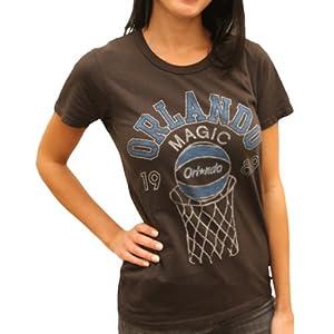 NBA Junk Food Orlando Magic Ladies Heather Retro Logo Premium T-Shirt - Black by Junk Food