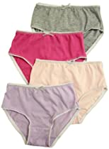 T Cottons Girls Briefs 4 Pack Assorted Colors 100% Cotton Panties - Size 9-10