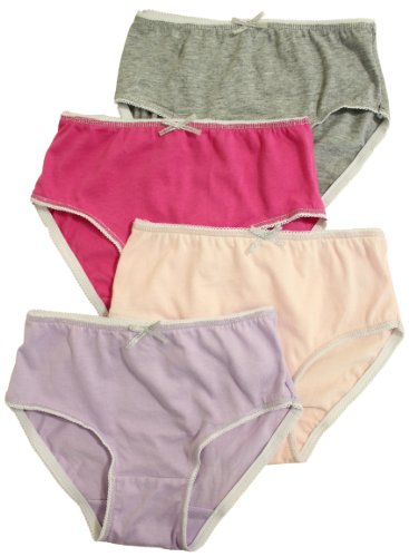 T Cottons Girls Briefs 4 Pack Assorted Colors 100% Cotton Panties - Size 5-6 front-917631