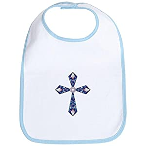 Truly Teague Baby Bib Stained Glass Cross - Sky Blue