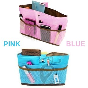 Best Cheap Deal for WSWS - (One Pink and One Blue) Purse Organizer Insert Makeup Bag Cosmetic Travel Handbags + Dariya Hair Grip from WSWS - Free 2 Day Shipping Available