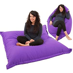 RAVIOLI GIANT - PURPLE Bean Bag Chair Indoor / Outdoor Beanbag Floor Cushion by Gilda Ltd