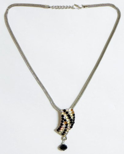 Black With White Stone Studded Pendant With Chain And Earrings - Stone And Metal - B00K4F2UYU