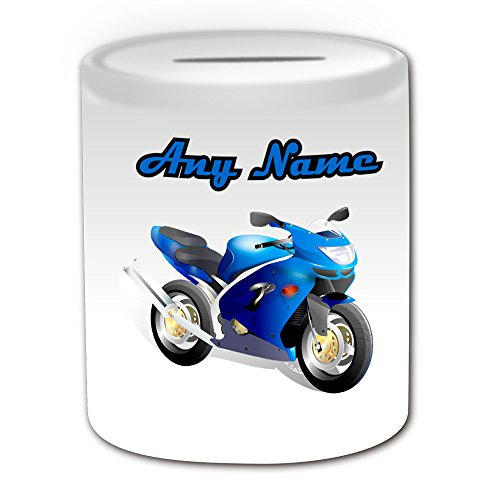 Personalised Gift - Motorcycling Money Box (Sport Design Theme, White) - Any Name / Message on Your Unique - Motorcycle Racing Motor Bike by UniGift