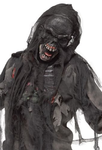 [Burnt Charred Burning Dead Zombie Mask Black And Shroud Mens Halloween] (Jeepers Creepers 2 Costume)