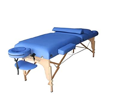 "BestMassage 30"" Blue Reiki Portable Massage Table Package(Includes FREE Carrying Case, Bolster, Adjustable Head Rest)"