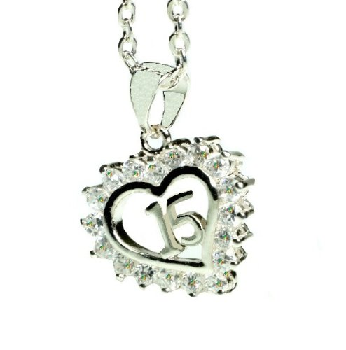 Sterling Silver Crystal Heart Quinceanera Necklace