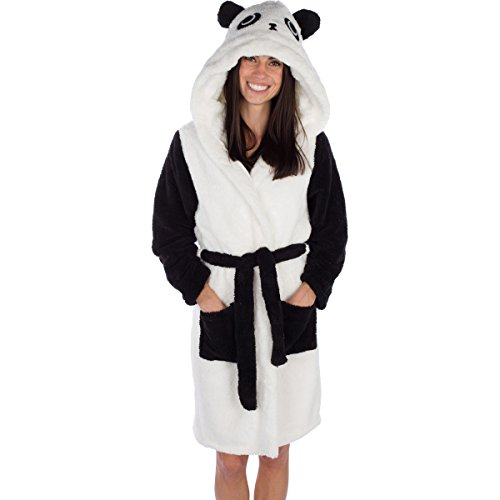 Emolly Fashion Panda Bathrobe with Hood Soft and Warm Robe for Women with Pockets